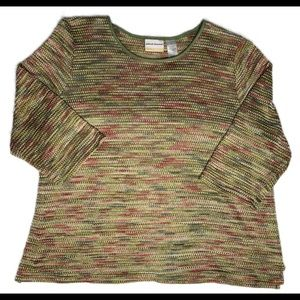 ALFRED DUNNER LIGHTWEIGHT SWEATER MULTICOLOR CREW